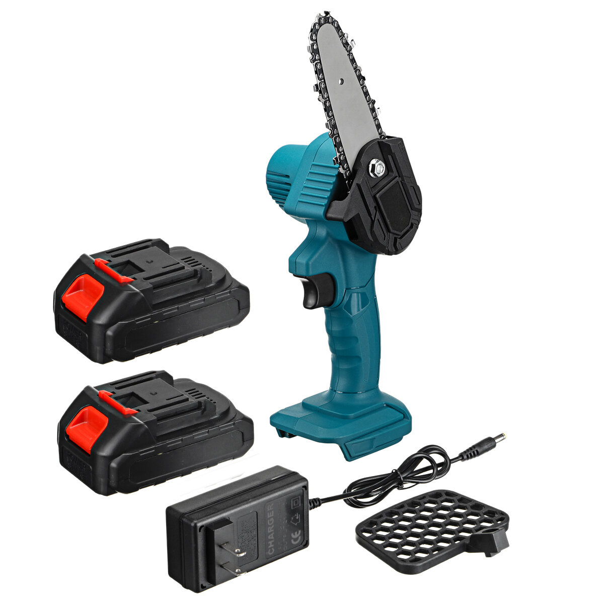 550W 48VF 4'' Mini Cordless One-Hand Electric Chain Saw Woodworking Wood Cutter W/ 2pcs Battery - EU Plug