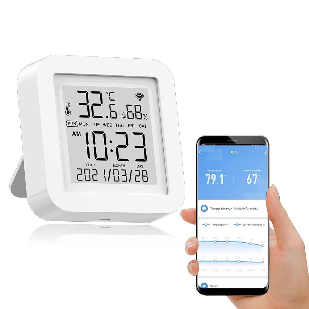Tuya WIFI Temperature Humidity Smart Sensor Clock Digital Display Remote Control Thermometer Support Alexa Google Assistant