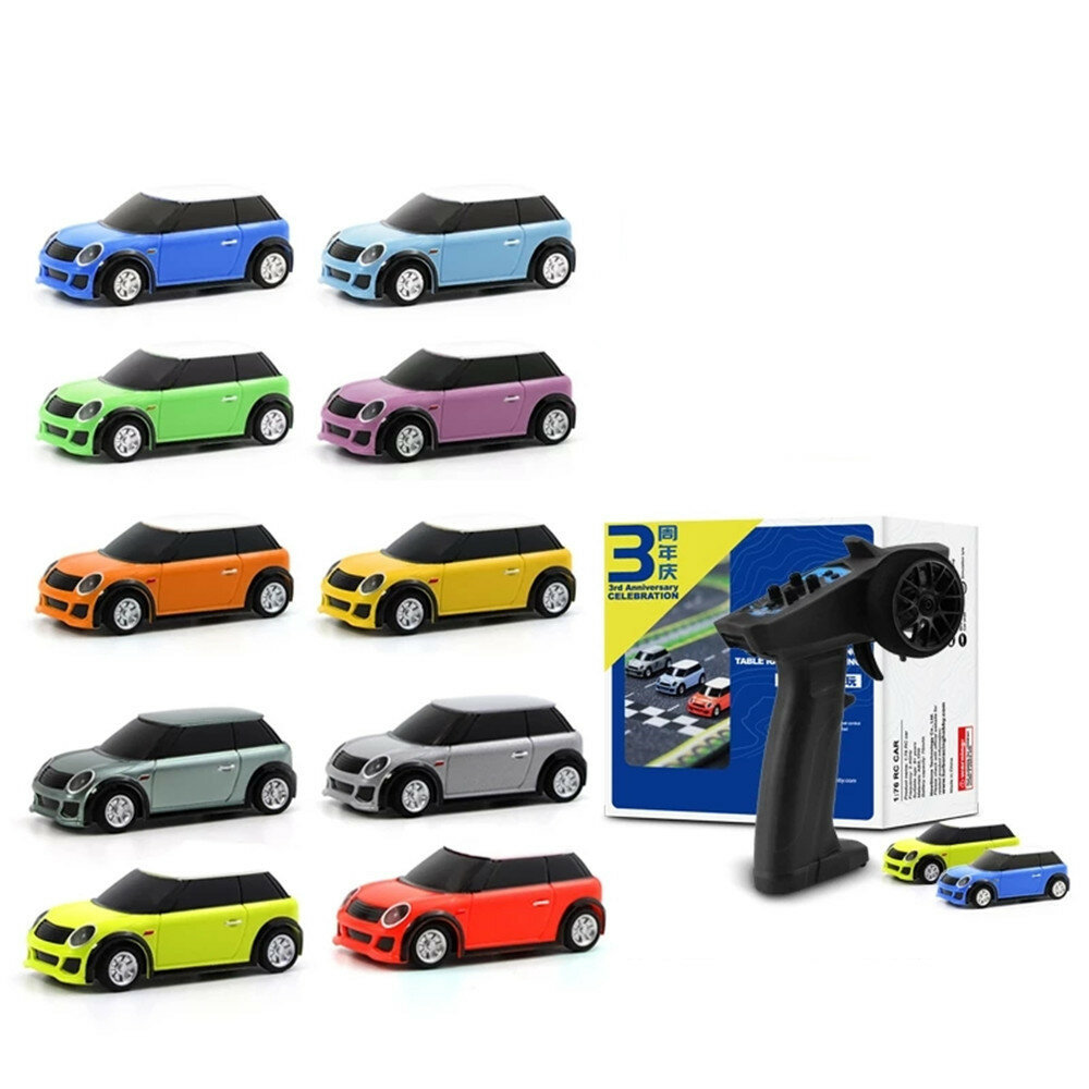 Turbo Racing RTR 1/76 Two RC Cars 3rd Anniversary Version Mini Full Proportional Kids Toys - Green+Orange