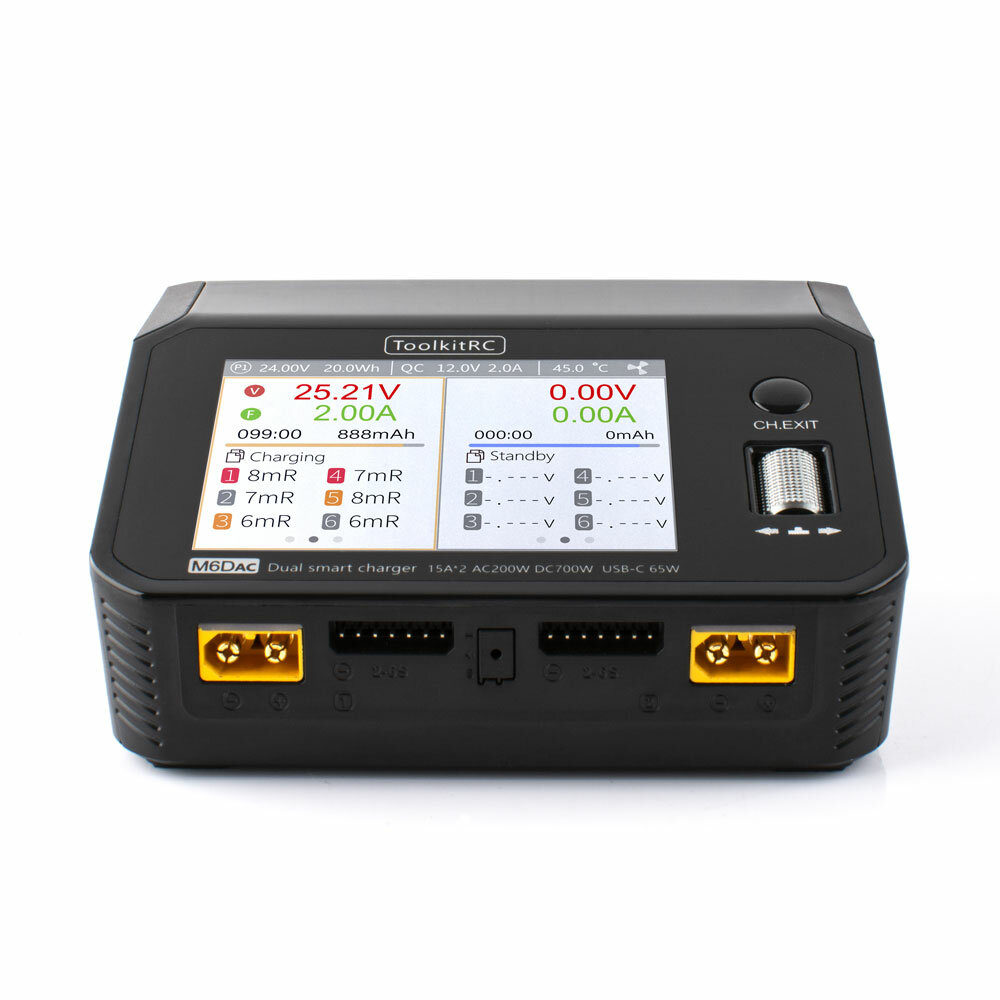 ToolkitRC M6DAC AC 200W DC 700W 15A*2 USB-C 65W QC3.0 Dual Channel Smart Lipo Battery Charger
