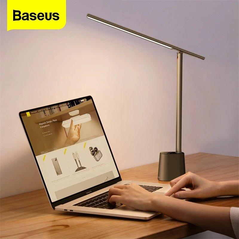 Baseus Smart LED Desk Lamp Eye Protect Study Dimmable Office Light Foldable Table Lamp Smart Adaptive Brightness Bedside Lamp For Read