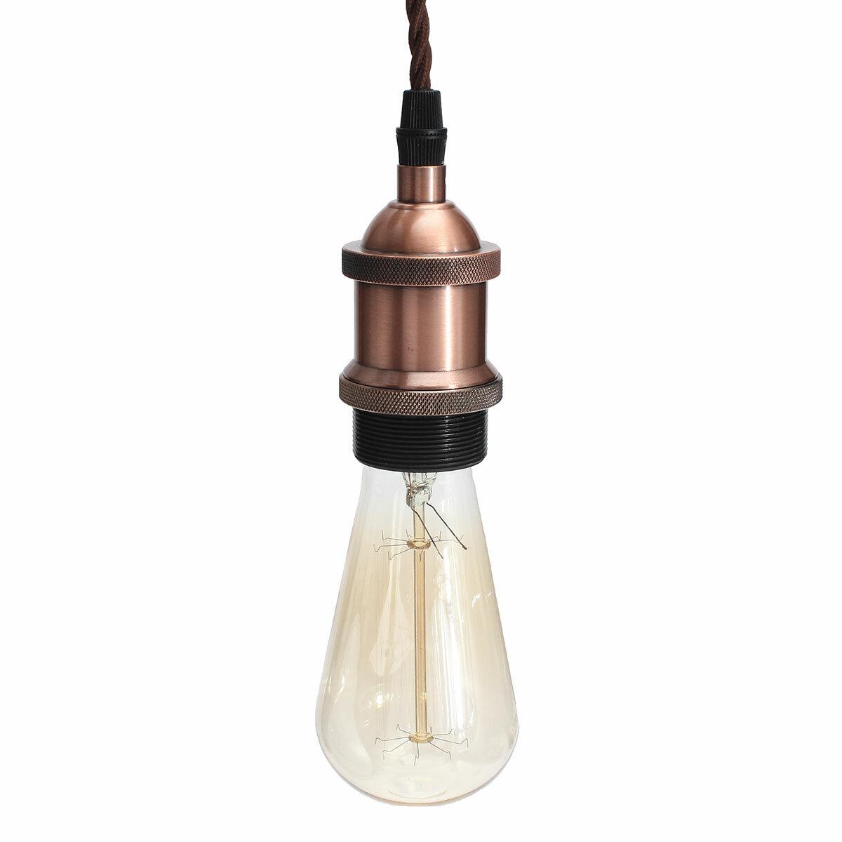 KINGSO Vintage Hanging Pendant Light Kit Modern Retro Industrial Style Base Brass Lamp Holder