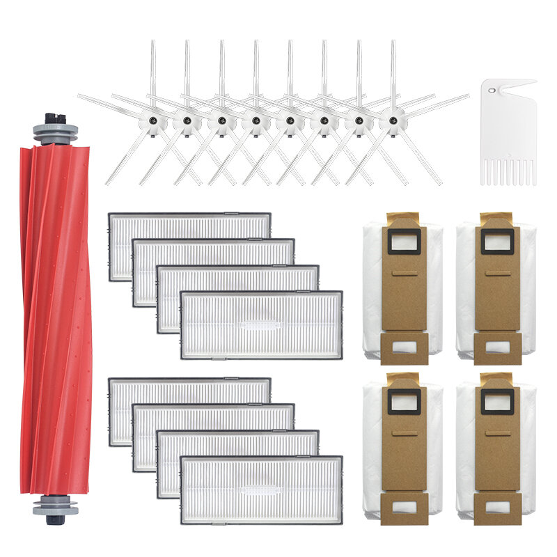 22pcs Replacements for Roborock S7 S7MAX S7MAXV S70 S75 Vacuum Cleaner Parts Accessories Main Brush*1 Side Brushes*8 HEPA Filters*8 Dust Bag*4 Cleaning Tools*1[Non-Original]