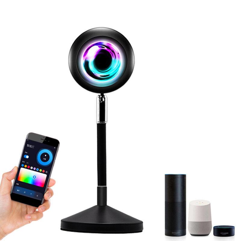 Tuya Smart WIFI Sunset Light Bluetooth Voice Control Live Broadcast Projection Sunset Lamp RGB 16 Colors 4 Modes Small Night Light