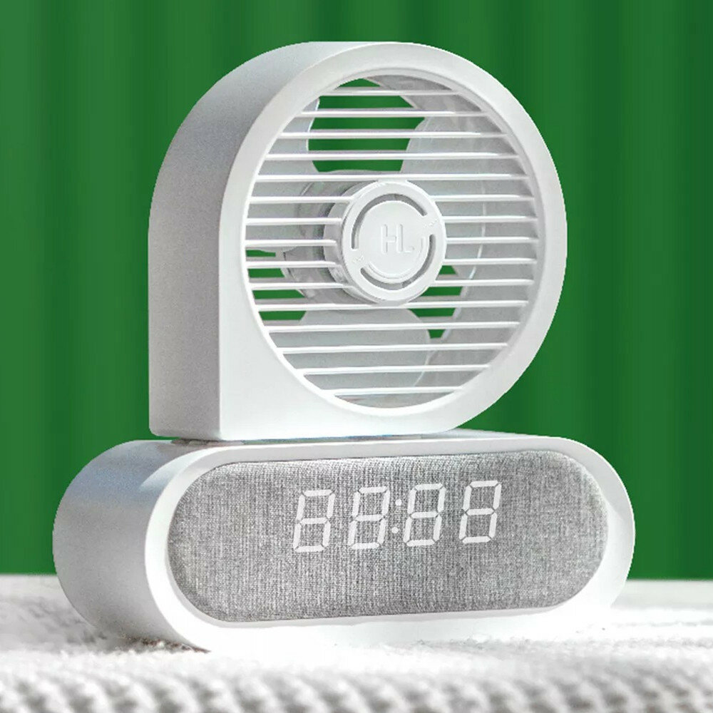 Happy Life HL009 Portable Desktop Fan Wireless Compatible Charging Time Display Low Noise for Home Office