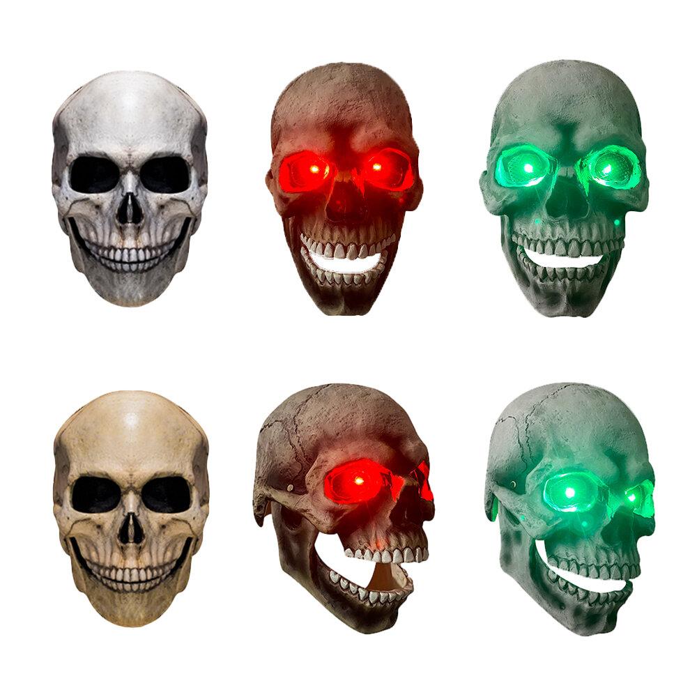 Halloween Mask Demon Skull Headgear Mask Zombie Ghost Skeleton Headgear Skull Head Jaw Movable Light Mask - Movable white mouth (soft)