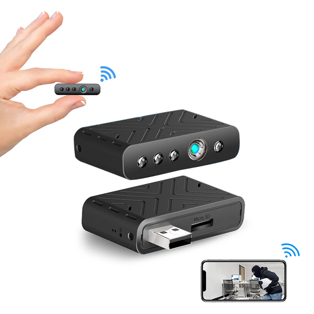 TY9 1080P HD Mini USB Camera WIFI Hidden Cameras 100° Viewing Angle Plug and Play Infra Night Virsion Human Detection Surveillance Camera Nanny Camera Wireless Camcorder with Cloud Storage