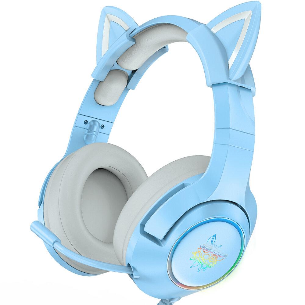 ONIKUMA Blue Cat Ear Headset Noise Reduction Headphone