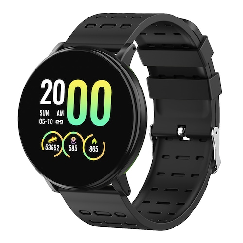 Gocomma 119Plus Sports Pedometer Heart Rate Smart Watch Dual Color Strap Smartwatch - Black