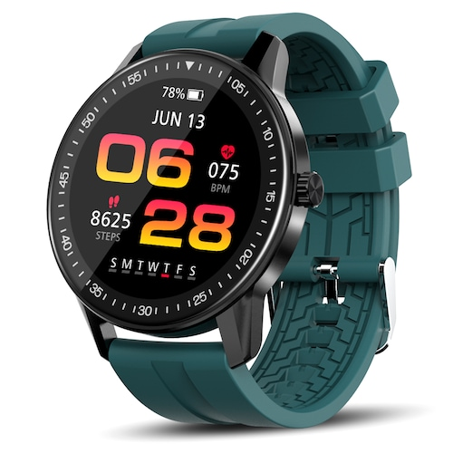 Kospet Magic 2S Smart Watch 40 Sport Modes 1.3 inch HD 360 x 360 Resolution Screen 3ATM Waterproof Bluetooth 5.0 128M Flash Memory - Black Extra Green Strap