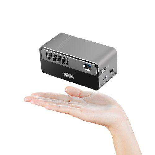 Alfawise HDP300 DLP 1080P 300 ANSI Lumens Smart Mini Projector Portable Home Cinema with 7000mAh Battery Hi-Fi Stereo Speaker Bluetooth - Gray