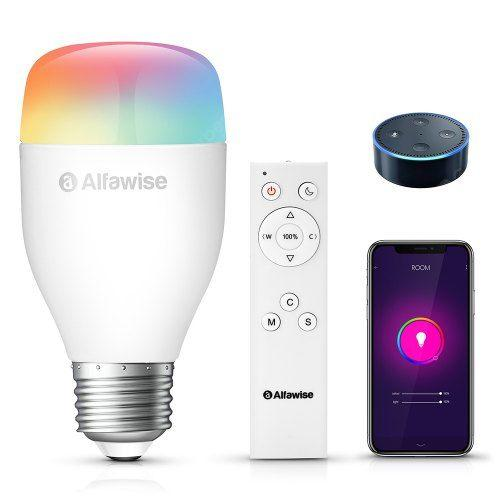 Alfawise LE12 E27 9W 900LM WiFi Smart LED Bulb App Voice Remote Control - White 1pc