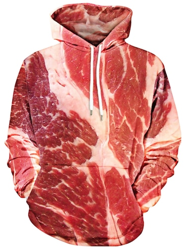 Raw Meat Kangaroo Pocket Hoodie - Red L