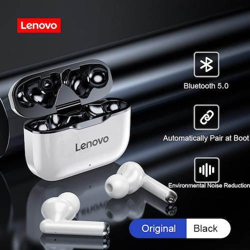 TWS Earphones Lenovo LP1 Bluetooth 5.0 Earbuds Wireless Charging Box 9D Stereo Sports Waterproof Headsets With Microphone Mic - Black