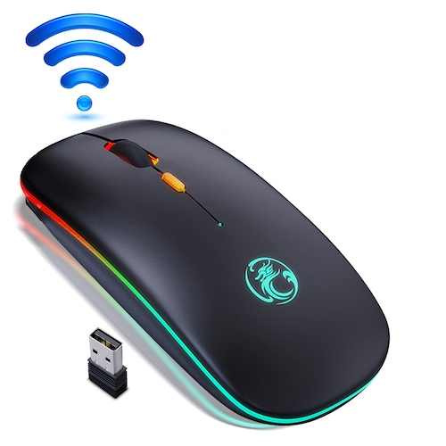 Wireless Mouse Bluetooth RGB Rechargeable Mouse Wireless Computer LED Backlit Ergonomic Gaming Mouse For Laptop PC - Wireless black