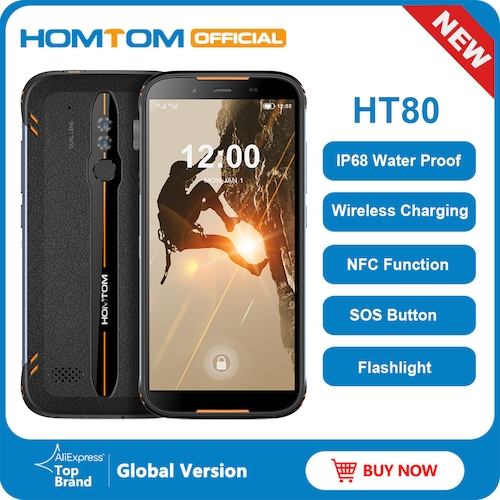 HOMTOM HT80 IP68 Waterproof Smartphone 4G LTE Android 10 5.5inch HD+ MT6737 Quad Core NFC Wireless charge SOS Mobile Phone - Black Green Standard
