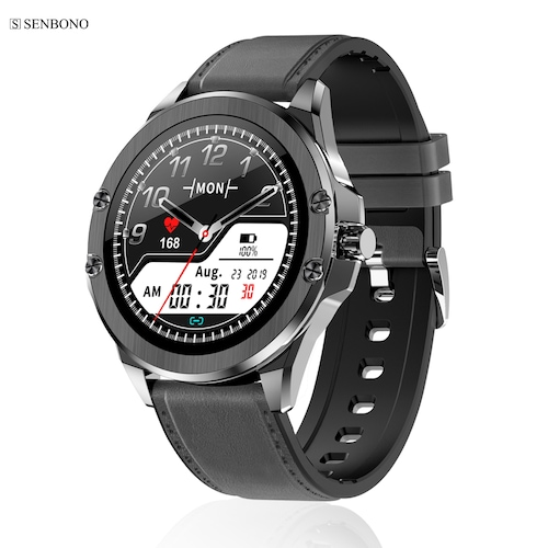 SENBONO S11 2020 Multi-dial Smart Watch Fitness Tracker Heart Rate Monitor Clock For Android IOS - s11blackleather CN
