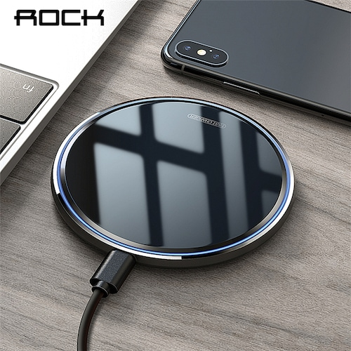 ROCK 10W Qi Wireless Charger For iPhone X XS Max XR 8 Plus Mirror Fast Wireless Charging Pad For Samsung S9 S10 Note 9 8 - Mirror Black CN