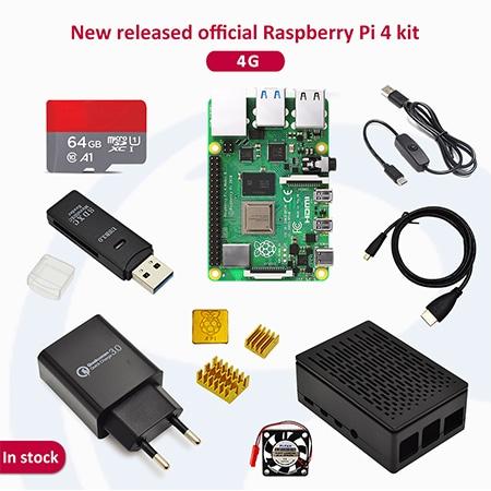 Raspberry pi 4 2GB/4GB/8GB Kit Raspberry Pi 4 Model B PI 4B +Heat Sink+Power Adapter+Case +HDMI Cable+3.5 inch Screen - 4GB-64G SDcard