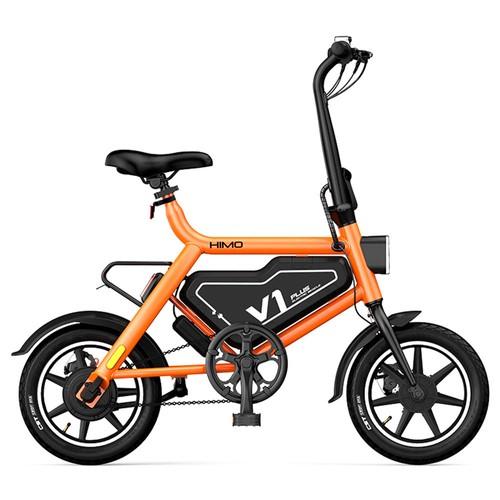 HIMO V1 Plus Portable Folding Electric Moped Bicycle 250W Motor 14 Inch Wheel Diameter Lightweight Design - Orange