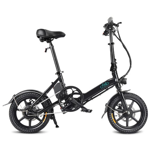 FIIDO D3 Folding Electric Moped Bike City Bike Commuter Bike Three Riding Modes 14 Inch Tires 250W Motor 25km/h 7.8Ah Lithium Battery 25-40KM Range - Black
