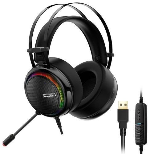 Tronsmart Glary Gaming Headset 7.1 Virtual Surround Sound Stereo Sound with Colorful LED Lighting USB Interface Mic for PC Laptop