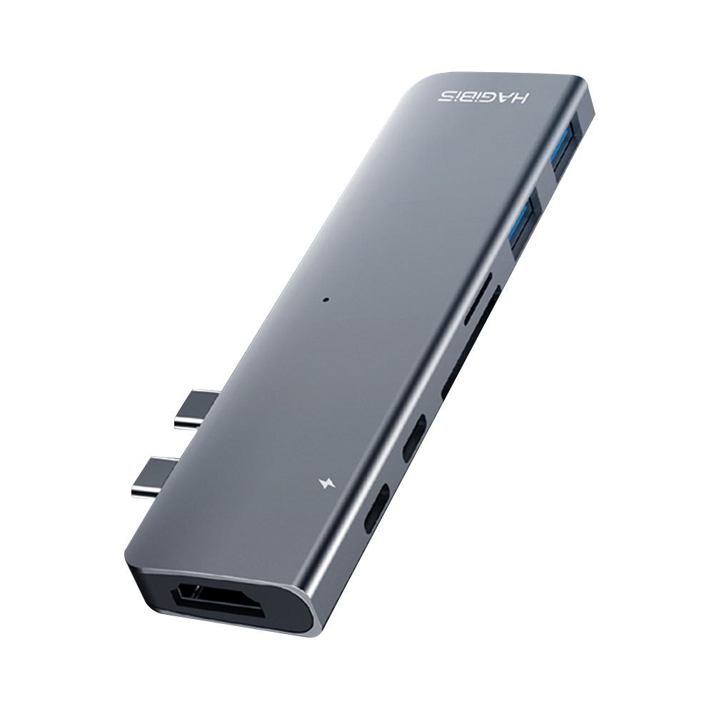 HAGIBIS DC7 Multifunctional Type-C Docking Station 7 Interfaces Max 4K HDMI Resolution - Dark Gray