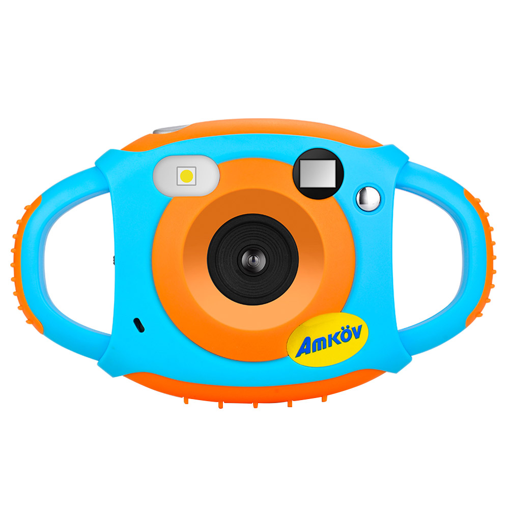 AMKOV CD-FP Digital Kids Camera Mini Portable Shockproof Rechargeable - Blue