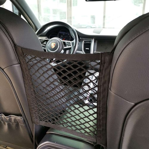 2pcs Car Seat Spacing Elastic Storage Net Bag Double Layer - Black