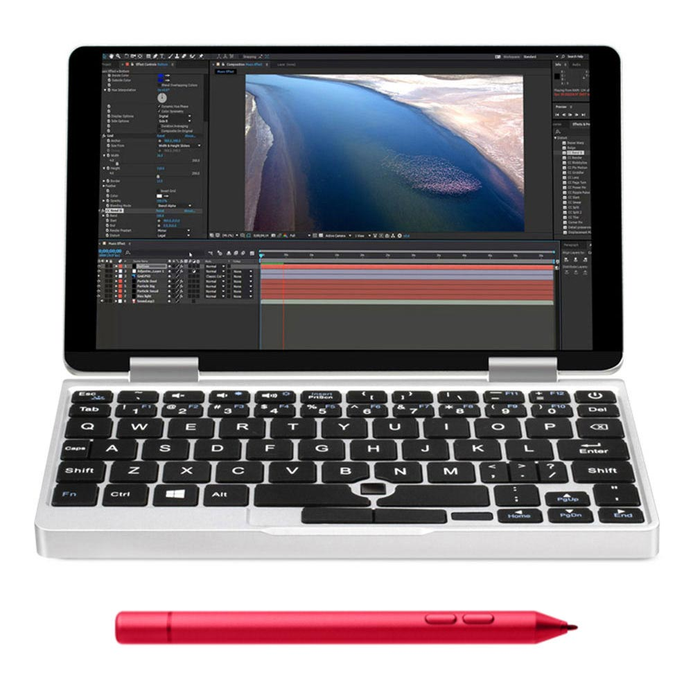 One Netbook One Mix 2S Yoga Pocket Laptop Intel Core M3-8100Y Dual Core Touch ID (Silver) + Original Stylus Pen (Red)
