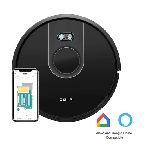 Zigma Spark 2 in 1 Sweeping Mopping Robot Vacuum Cleaner LDS APP Control Alexa Google - Black