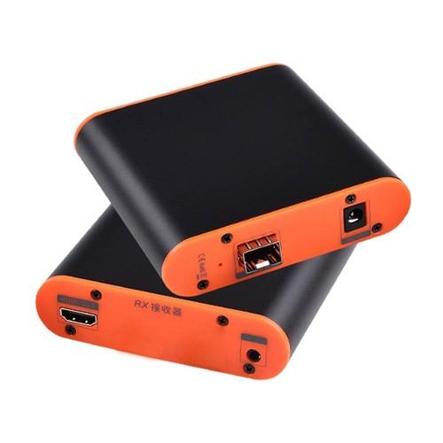Measy OPT882 20km Optical Fiber Extender 1080P HD Analog Audio Video Transmitter Receiver EU Plug - Black / Orange