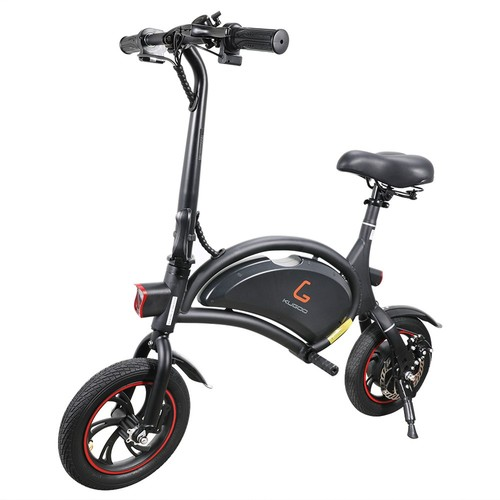 KUGOO Kirin B1 Folding Moped Electric Bike E-Scooter 250W Brushless Motor Max Speed 25km/h 6AH Lithium Battery Disc Brake 12 Inch Pneumatic Tires - Black