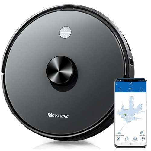 Proscenic U6 Intelligent Robot Vacuum Cleaner 2700Pa Suction LDS Laser Navigation Brushless Motor APP Control 300ml Electric Water Tank 150Min Runtime Automatic Charging - Black