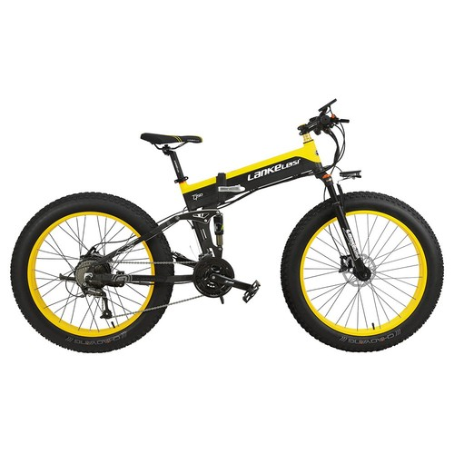 LANKELEISI XT750 Plus Folding Electric Bike Bicycle 48V 12.8AH 500W 26X4.0 Fat Tire Aluminum Alloy Frame Shimano Gear Shift Max Speed 40km/h IP54 100KM Mileage Range - Black Yellow
