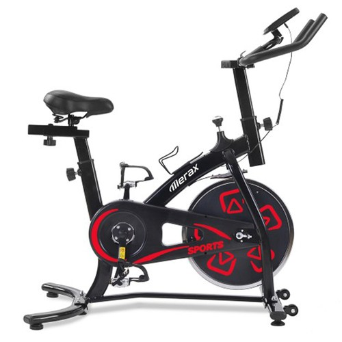 Merax Exercise Bike Indoor Bike with LCD Console Adjustable Seat and Handlebar Comfortable Seat Cushion Cardio Training - Red