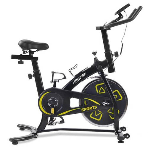 Merax Exercise Bike Indoor Bike with LCD Console Adjustable Seat and Handlebar Comfortable Seat Cushion Cardio Training - Black Yellow