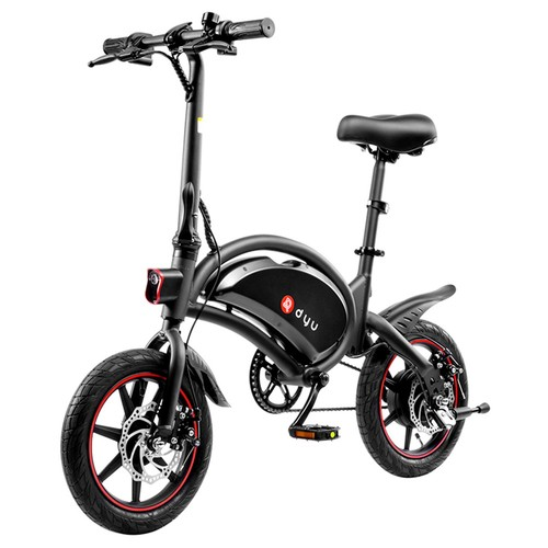 DYU D3F with Pedal Folding Moped Electric Bike 14 Inch Inflatable Rubber Tires 240W Motor 10Ah Battery Max Speed 25km/h Up To 45km Range Dual Disc Brakes Adjustable Height - Black