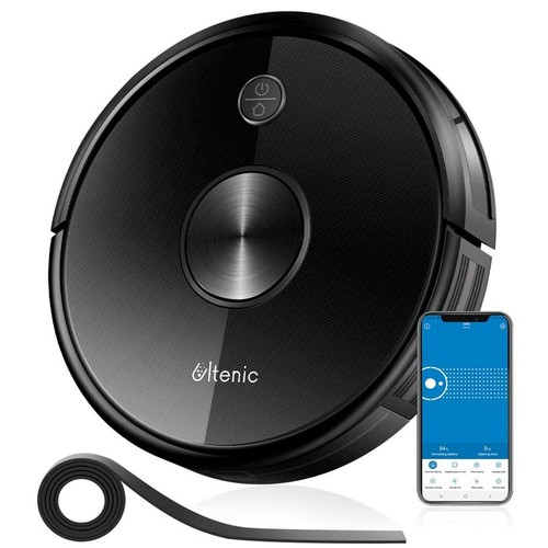 Proscenic Ultenic D5S Robot Vacuum Cleaner 2200Pa Max Suction Wi-Fi & Alexa Control Super-Thin Auto Carpet Boost 600ML Large Dustbox Self-Charging Robotic Vacuum Cleaner for Pet Hairs Hardwood Carpets - Black