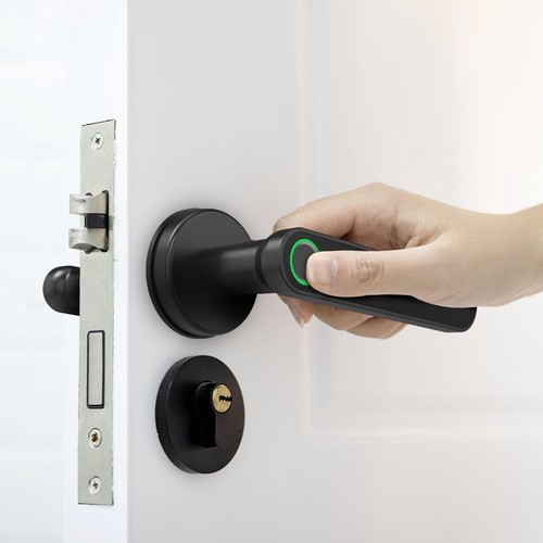Exitec H03 Smart Fingerprint Key Lock with Biometric, Keyless Entry Mechanical Handle with Bluetooth, App Support, Multilingual, Left and Right, Compatible with 35-58mm thickness for Main Door Entrance, Master Room, Home, Hotel, Apartment, School