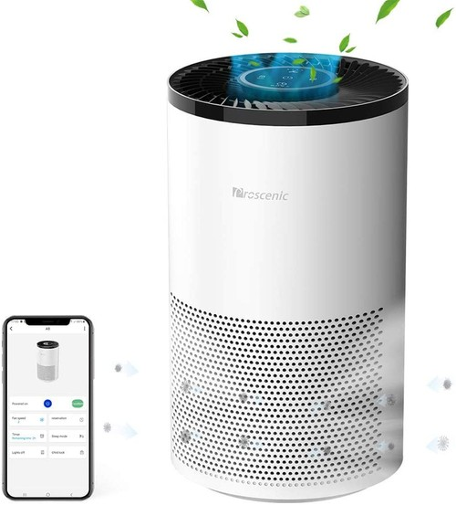 Proscenic A8 Air Purifier for Home with H13 True HEPA Filter, APP & Alexa & Google Voice Control, Air Cleaner for Smokers Allergies Pets Hairs Odor Eliminators, 4 Stages Filtration, Timer & Schedule - White