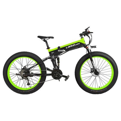 LANKELEISI XT750 Plus Folding Electric Bike Bicycle 48V 12.8AH 1000W 26x4.0 Fat Tire Aluminum Alloy Frame Shimano Gear Shift Max Speed 40km/h IP54 100KM Mileage Range - Black Green