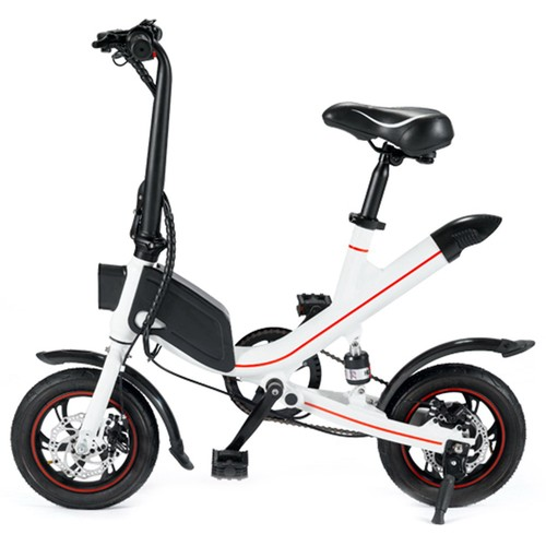 OUXI V1 12inch Electric Folding Bike for Adults Ebike with 350W Motor 7.8AH Lithium Battery Up to 25km/h City Bicycle IP54 Dual Disk Brake - White