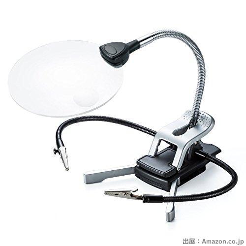 サンワダイレクト スタンドルーペ 拡大鏡 LEDライト付 クリップ対応