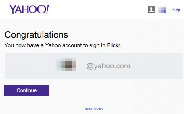Yahoo!アメリカ ユーザ作成完了