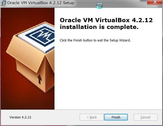 VirtualBOXインストール 終了