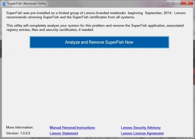 Lenovo Superfish自動削除ツール Analyze and Remove SuperFish Now