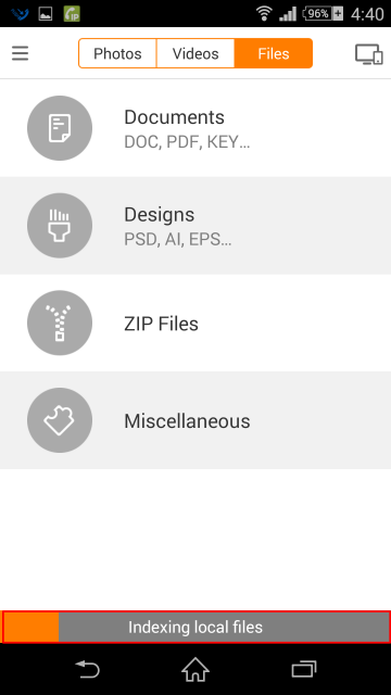 ユーザー登録完了。スマホ内のファイルのインデックス化が始まった