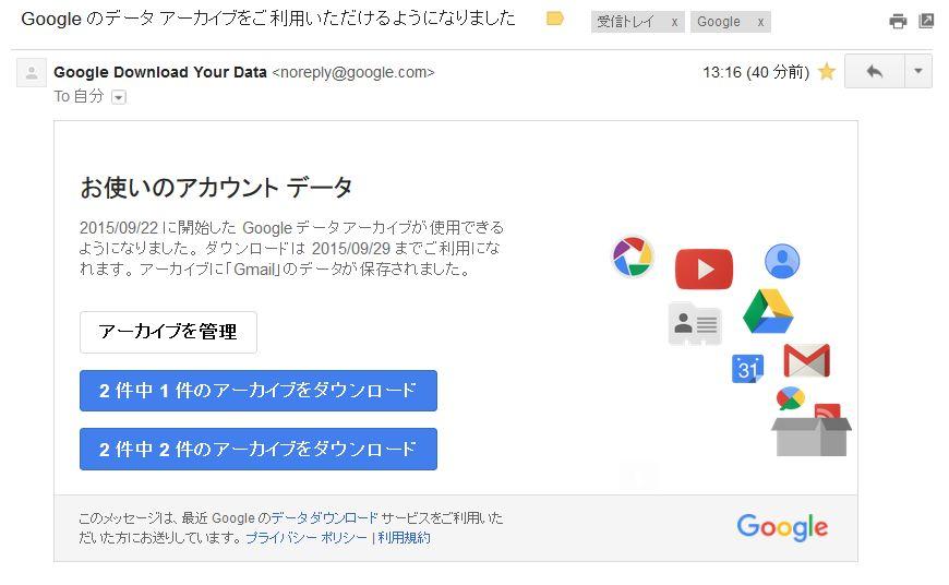 このようなメールが来てGmailのアーガイブは2件のZipファイルになった。