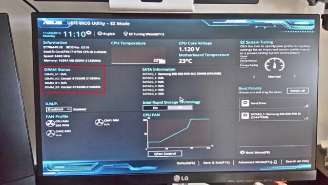 BIOS無事起動!メモリの認識がおかしい、画面がチラつく
